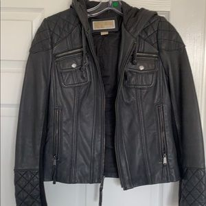 Michael kors grey leather jacket